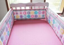 Pink with Coloured Circles Baby Cot Bumper Pad Padded & Quilted Full Surround
