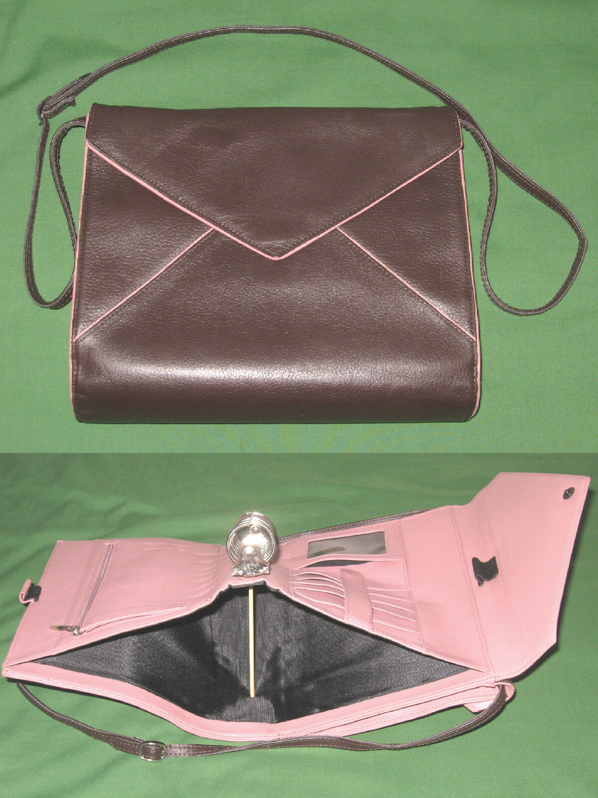 CLASSIC 1.25  Pink & Chocolate Brown LEATHER Franklin Covey Planner BINDER 4122