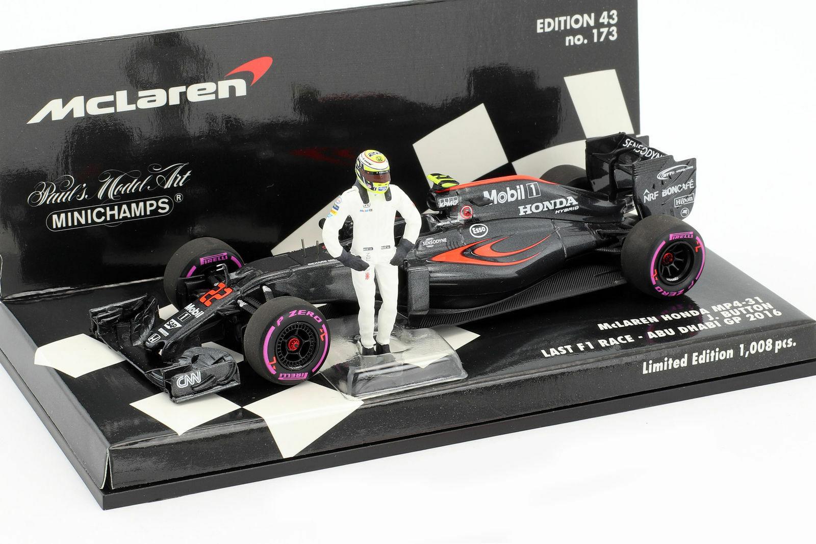 Minichamps F1 1 43rd McLaren Honda MP4-31 - J. BUTTON - Abu Dhabi GP 2016 - L.Ed