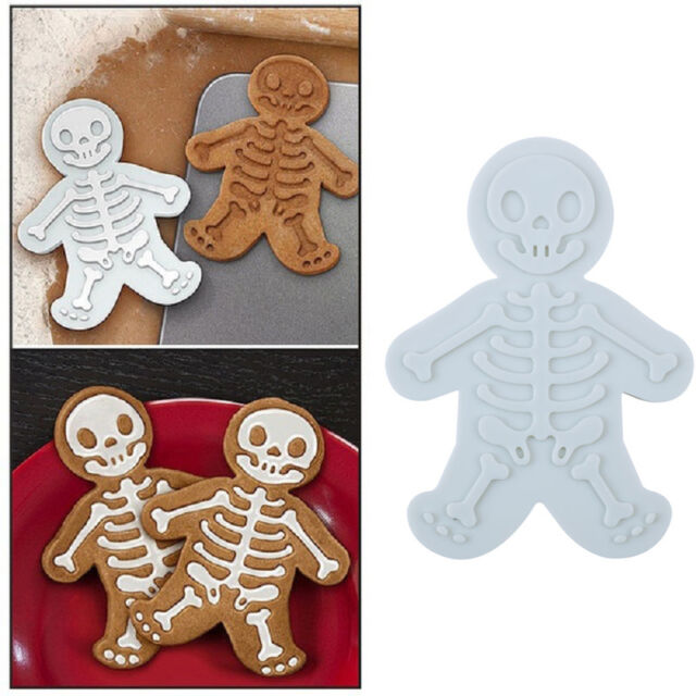 Gingerbread Man Skull Stamp Sugar Cookie Cutter