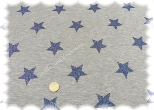 Sweat Glitzersterne grau blau Wintersweat Hoodie 50 cm