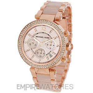 new michael kors ladies parker rose gold watch mk5896 rrp 229 ebay. Black Bedroom Furniture Sets. Home Design Ideas
