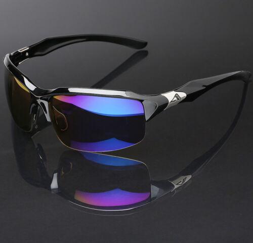 Half Frame Sport Mens Sunglasses with Blue Tech Color Mirror Lens