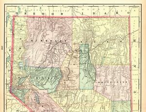 Details about 1901 Antique NEVADA State Map Crams Vintage Map of Nevada  Wall Art 7090