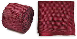 Frederick-Thomas-Knitted-Mens-Tie-and-Pocket-Square-Set-Maroon-Burgundy-Hanky