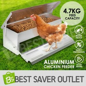 Aluminium-Auto-Self-Opening-Mechanism-Chook-Poultry-Chicken-Food-Feeder-Treadle