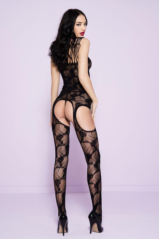 black XL con Spalline avanti Pizzo Cut Out Reggicalze Body Lingerie Sexy P1719Q