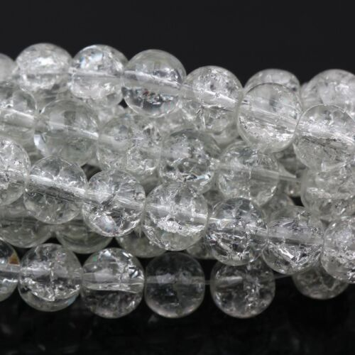 Wholesale Round Clear Crackle Art Crystal Glass Charm Bead Jewelry Making 4-10mm