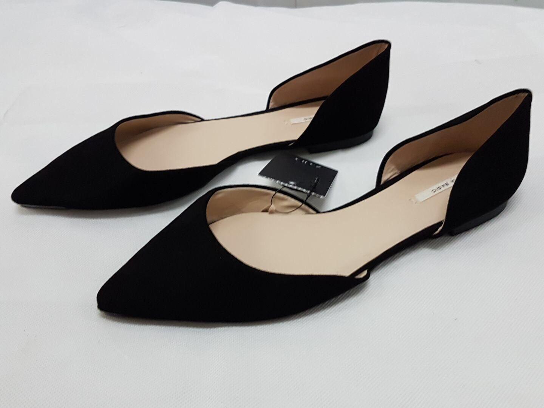 fino al 60% di sconto Zara Nero a Punta Punta Punta Ballerina Piatto Scarpe eleganti Tg EURO 38  ti aspetto