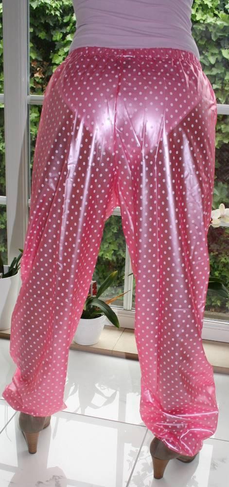 PVC Jogging di Pioggia Pantaloni Pantaloni di Jogging GOMMA Rosa con Punti Bianchi bb6b3f