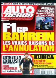 100% De Qualité Auto Hebdo Du 23/02/2011; Gp De Bahreïn/ Entretien Nick Heidfeld/ Kubica