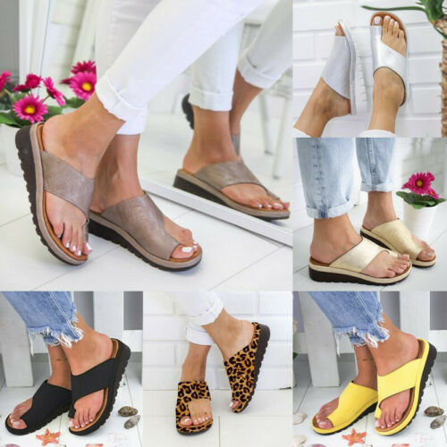 UK STOCK Women Comfy  Sandals Lady Shoes Bunion Corrector PU LEATHER