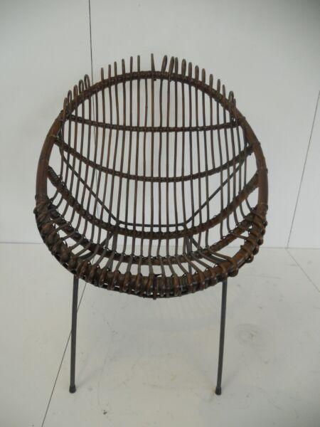 -poltrona Anni '50 In Vimini - Italian 1950s Wicker Armchair