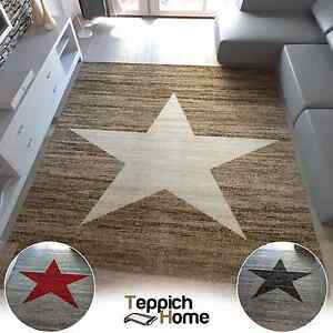 jugendzimmer teppich modern sternmuster in rot beige oder schwarz grau neu. Black Bedroom Furniture Sets. Home Design Ideas