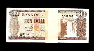 GUYANA FULL BUNDLE OF 100 X 50 DOLLAR COMMEMORATIVE BANKNOTE 2016 UNC 100PCS.