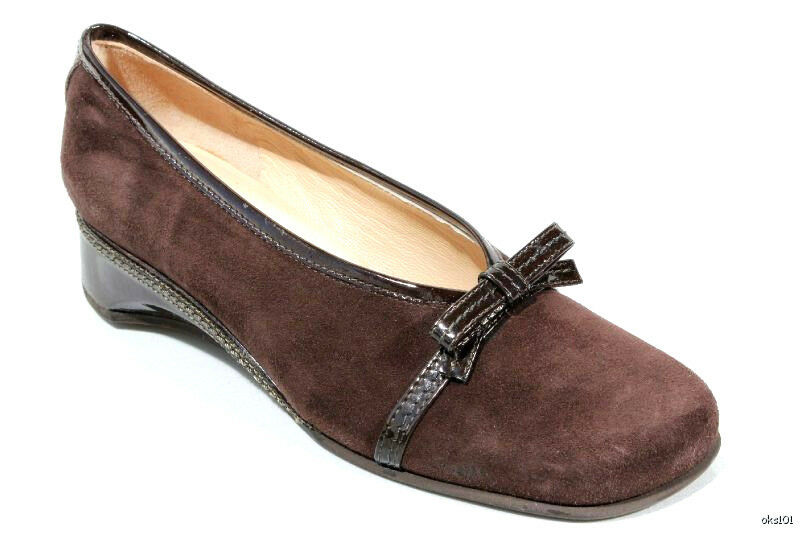 new 405 RANGONI 'Volpe' Braun suede small wedge bow loafers hoes  - soft