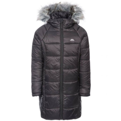 Girls Trespass Elimore Quilted Casual Hooded Coat with Faux Fur Trim