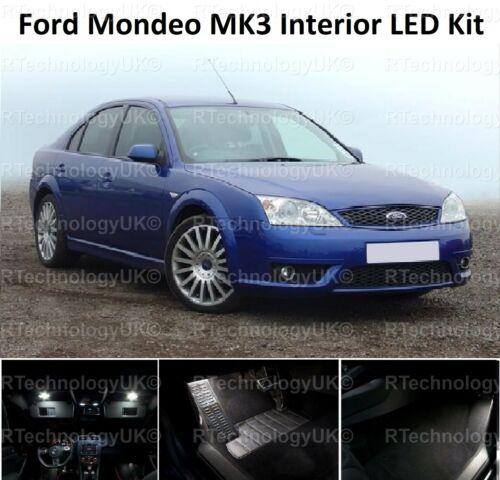 Premium Ford Mondeo MK3 00-07 Blanco Interior Upgrade Kit de Luz LED sin error
