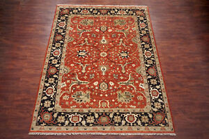 Antiqued-9X12-Veg-039-Dye-Mahal-Sultanabad-Hand-Knotted-Oriental-Wool-Area-Rug