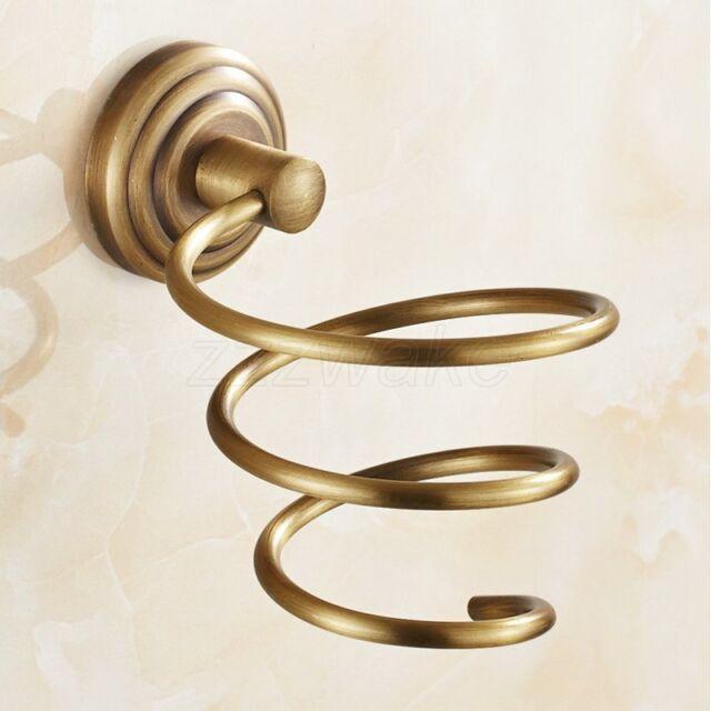 Wall Mount Antique Brass Spiral Hair Dryer Blower Holder Bathroom Accessory