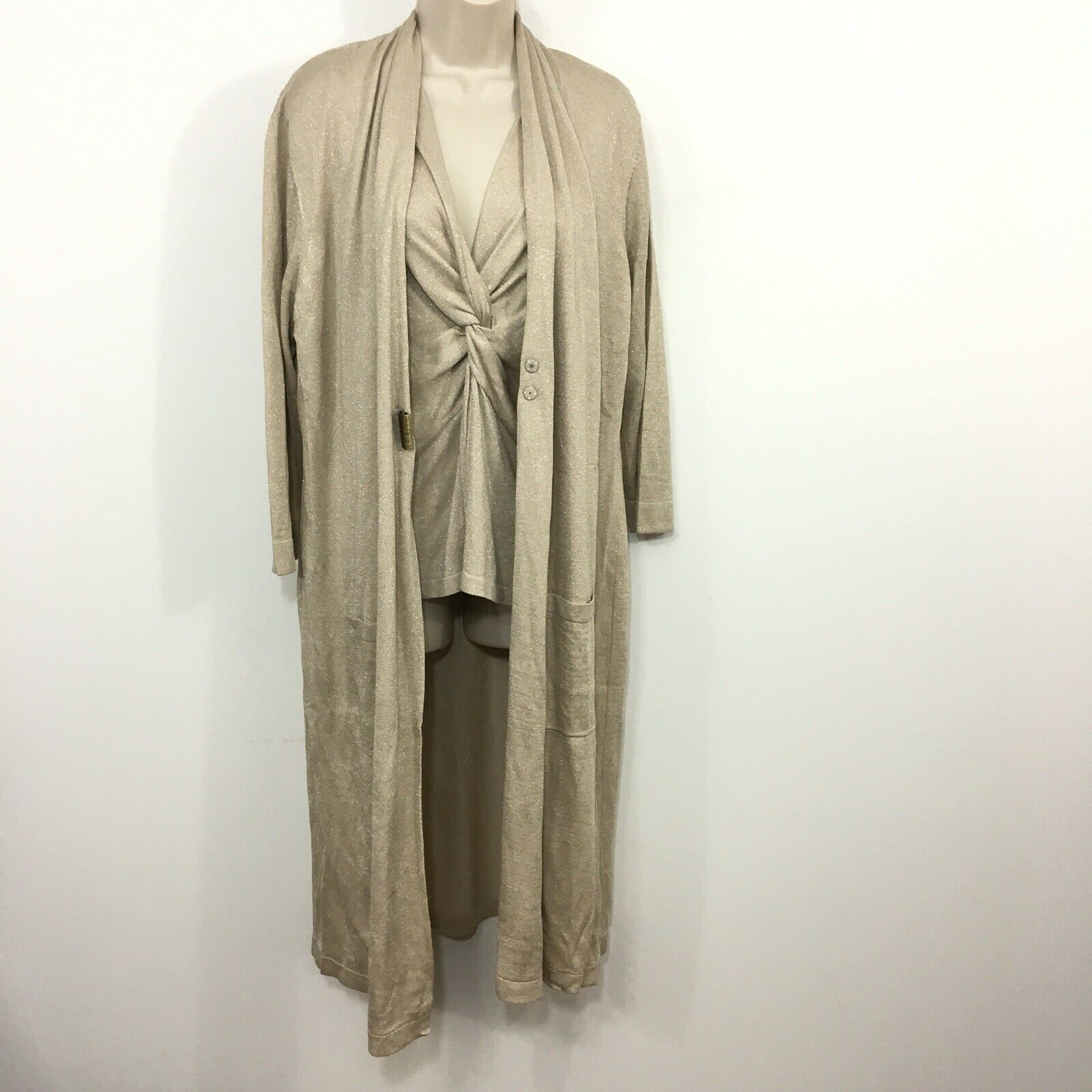 NWT Magaschoni Duster Cardigan TwinSet Metallic Beige gold  L XL