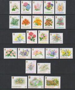 Guernesey-1992-1p-Fleurs-Complet-Ensemble-De-24-MNH-Sg-562-82a