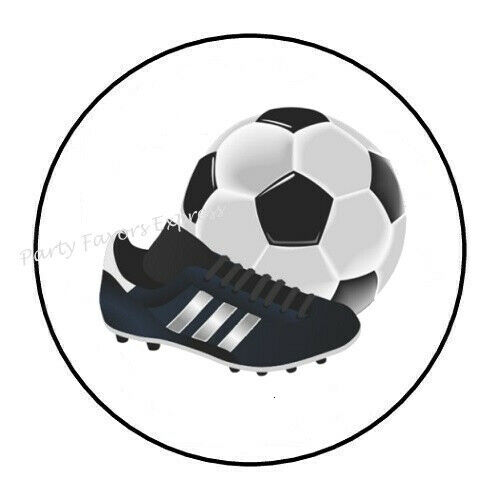"30 SOCCER BALL AND CLEAT ENVELOPE SEALS LABELS PARTY FAVORS STICKERS 1.5/"" ROUND"