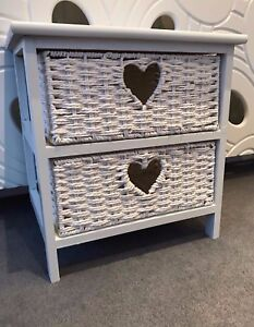 White Wicker Bedside Table Basket Small Drawers Shabby