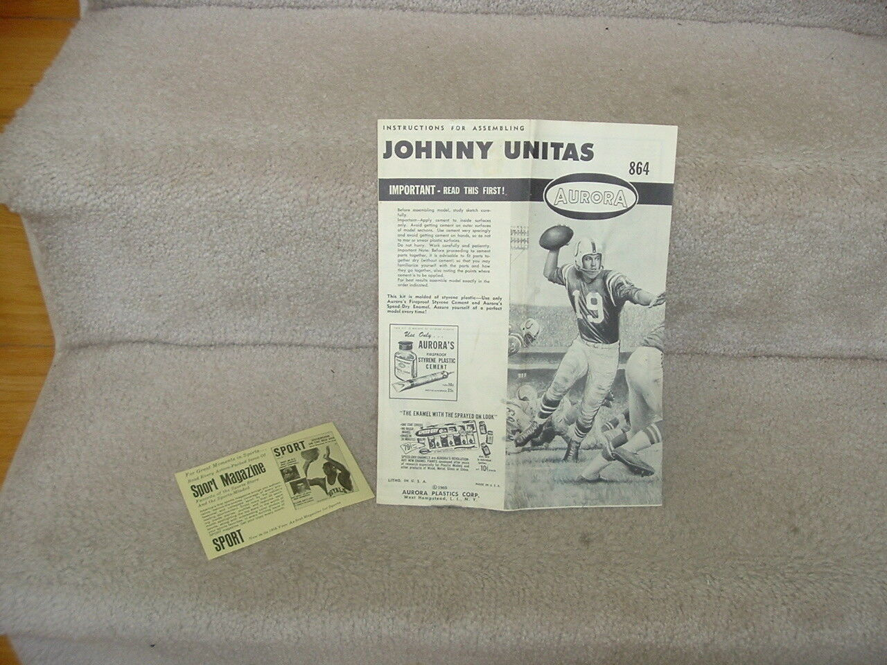 1965 Aurora Model Instructions Only Johnny Unitas Baltimore Colts
