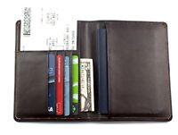 Rfid Blocking Genuine Leather Wallet Passport Holder Travel Ticket Organizer ...