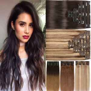 Clip-In-Double-Weft-100-Remy-Human-Hair-Extensions-Full-Head-Thick-Blonde-Q246