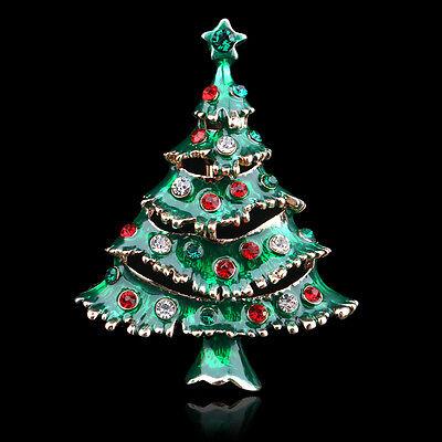 FASHION RHINESTONE CRYSTAL ENAMEL BIG CHRISTMAS TREE PIN BROOCH WEDDING PARTY