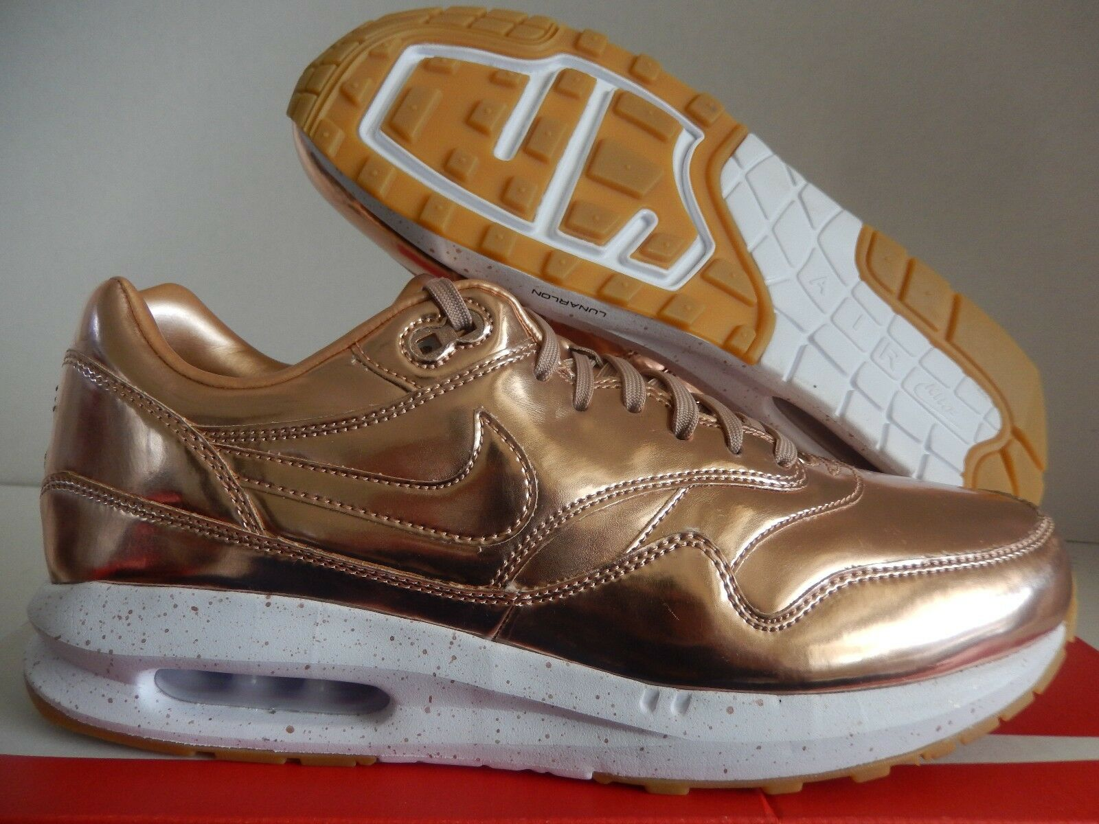 MENS NIKE AIR MAX 1 PREMIUM ID LIQUID BRONZE ROSE GOLD SZ 10.5 [886992-991]