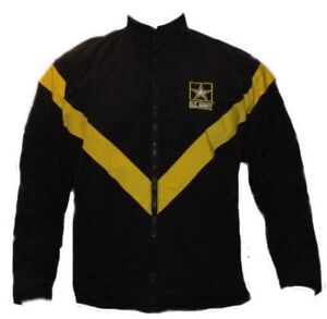WOMENS-US-ARMY-APFU-PHYSICAL-FITNESS-PT-GOLD-BLACK-LARGE-ZIP-JACKET-WINDBREAKER