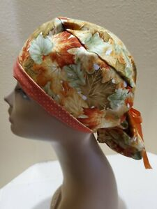 Small Fall Leaves Ponytail Scrub Surgical Cap