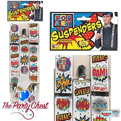 POP ART BRACES Adult Superhero Y Suspender Braces 80s 90s Fancy Dress Accessory