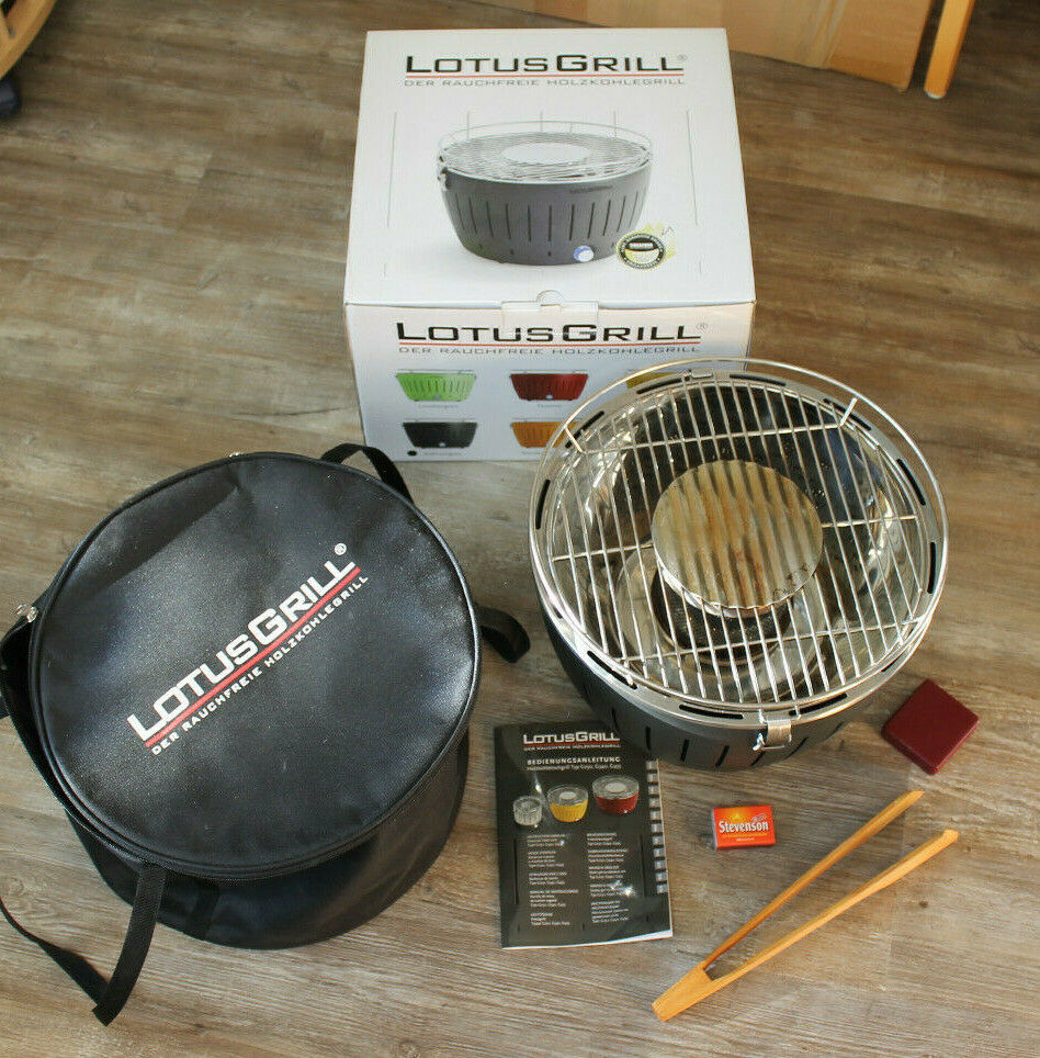 LotusGrill rauchfreier Holzkohlegrill Tiefblau G-TB-34