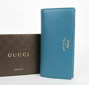 7279e5cdf8c New Gucci Blue Swing Leather Continental Wallet w Trademark 354498 ...