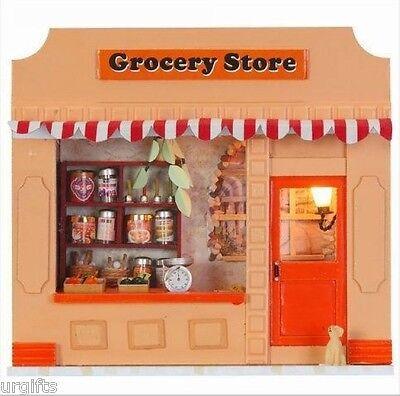 Dollhouse Miniature Model DIY Kit w/ Light Grocery Store Shop NIB
