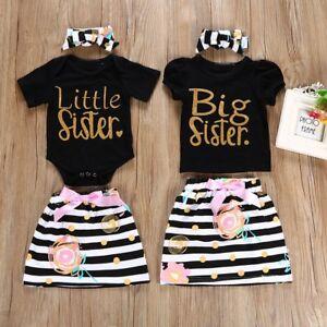 bb2307896e47 Big Little Sister Matching Top T-shirt Newborn Baby Girl Romper ...