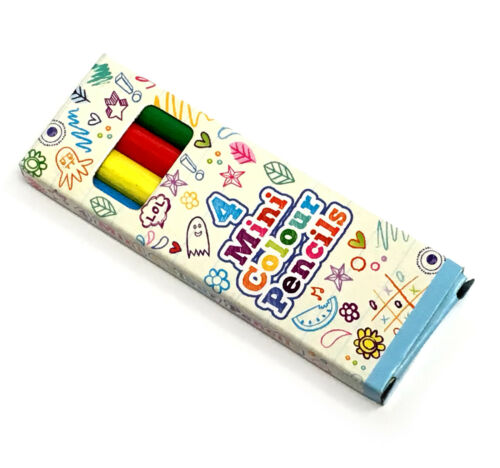 12 PACKS OF MINI COLOURING PENCILS BOYS GIRLS BIRTHDAY PARTY BAG FILLERS 1 6