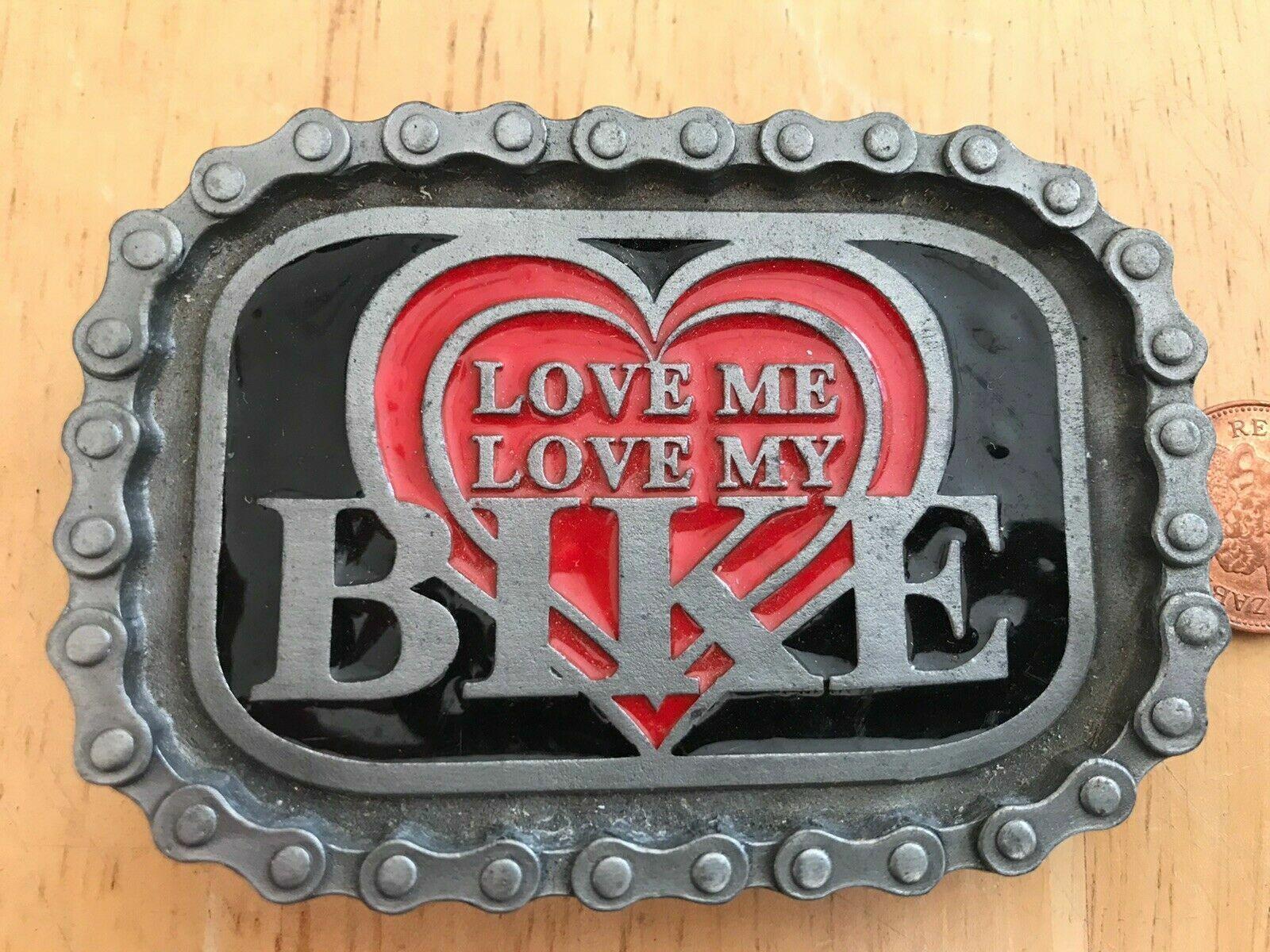 Bulldog belt buckle Tan 412 Love Me Love My Bike. Made In USA. Size ~85x60 mm