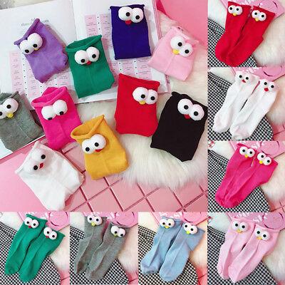 Cartoon Socks Personality Creative Girls 1Pair 3D Design Women Cotton Big Eyes
