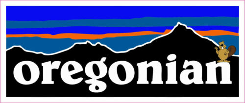 Oregonian Retro Beaver Sticker Decal Fishing Hiking Camping Patagonia Themed