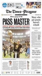 NEW-ORLEANS-SAINTS-DREW-BREES-TIMES-PICAYUNE-NEWSPAPER-12-27-2011-PASSING-RECORD