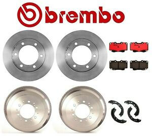 2-Brembo Rear Brake Drums /& Enduro Shoe /& Hardware kit For Toyota 4Runner Tacoma