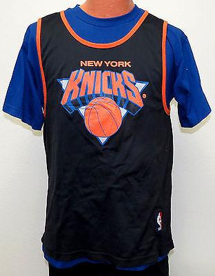 quality design 44825 6924e vtg NEW YORK KNICKS STARTER Blue T-shirt Inside Black JERSEY MED 80s/90s ny  nba | eBay