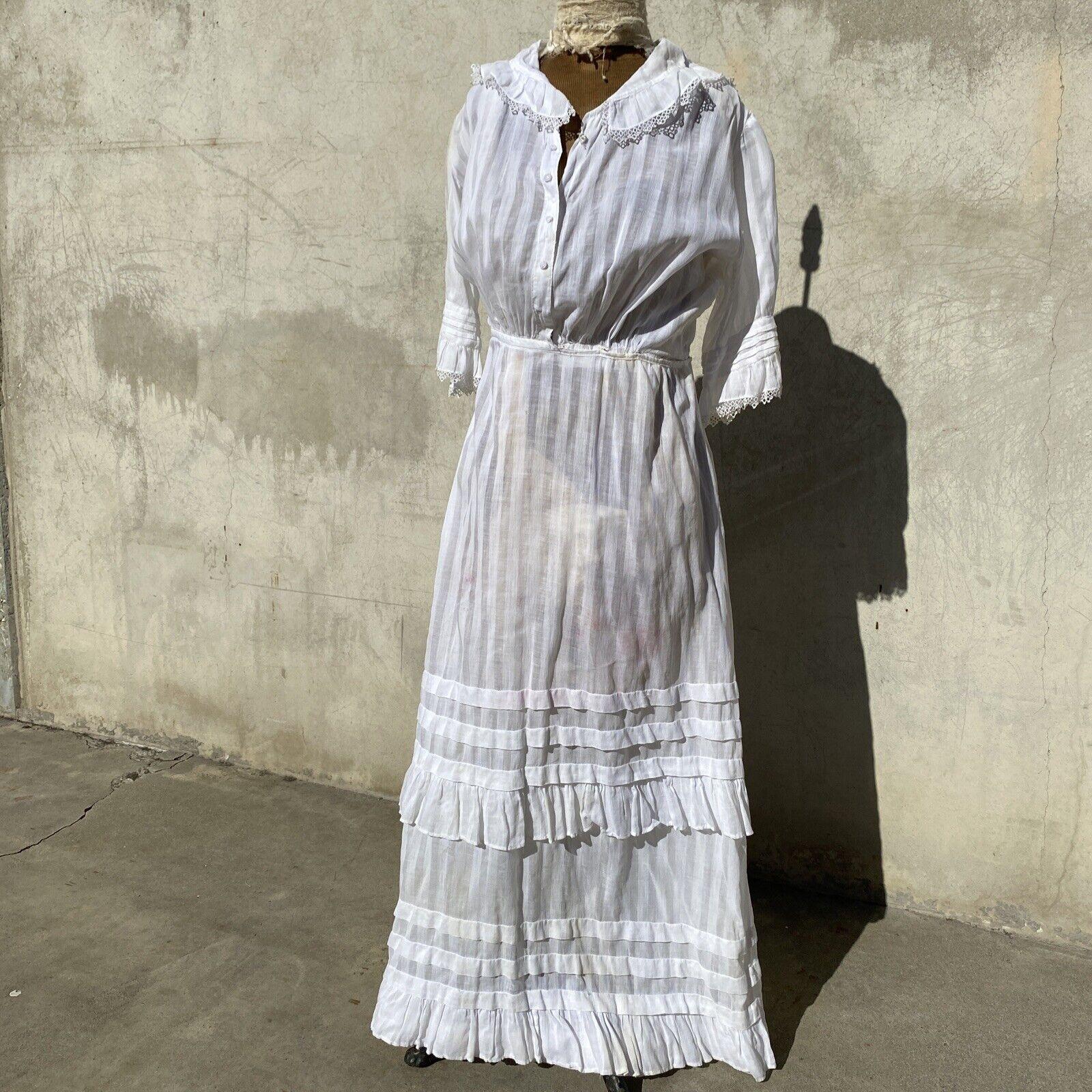 Antique Edwardian White Cotton Tea Dress Maxi Lac… - image 1