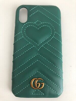Gucci Case For Iphone XR green Leather With Logo