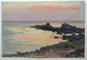 19th-Century-Oil-French-Impressionist-Painting-Britain-Seascape-Henry-MORET